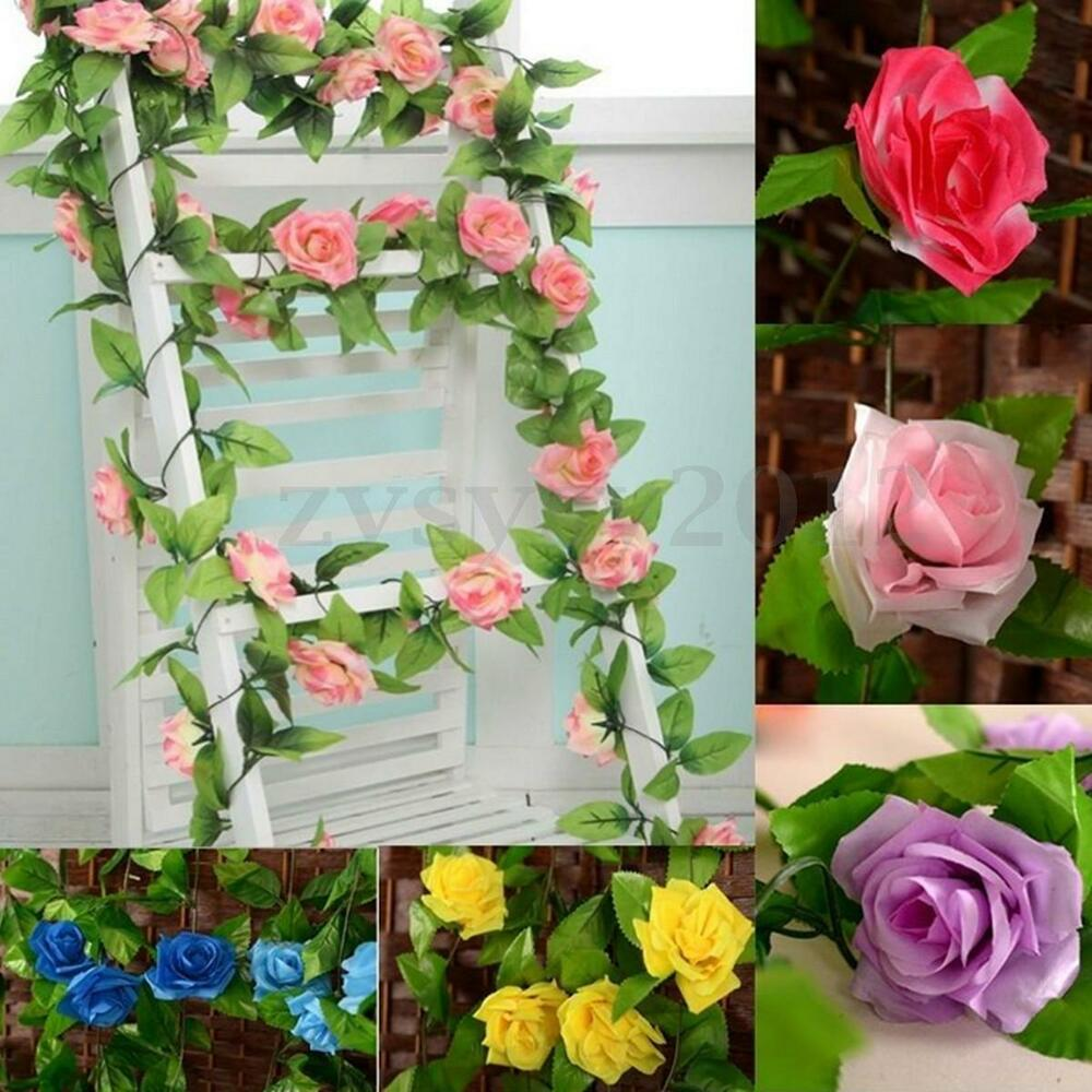 8ft artificial rose garland silk flower vine ivy home for Jardin decor 37