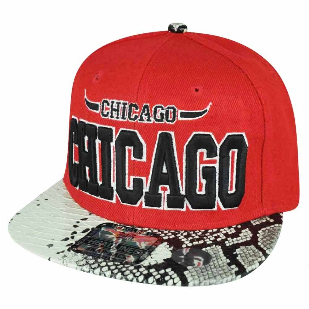 c89ec29e655 Details about Chicago Red Snake Skin White Flat Bill Snapback Hat Cap Chi  Town City Bull Horns