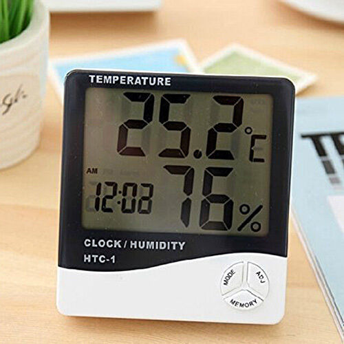 digital thermometer hygrometer au enf hler mit wecker lcd ebay. Black Bedroom Furniture Sets. Home Design Ideas