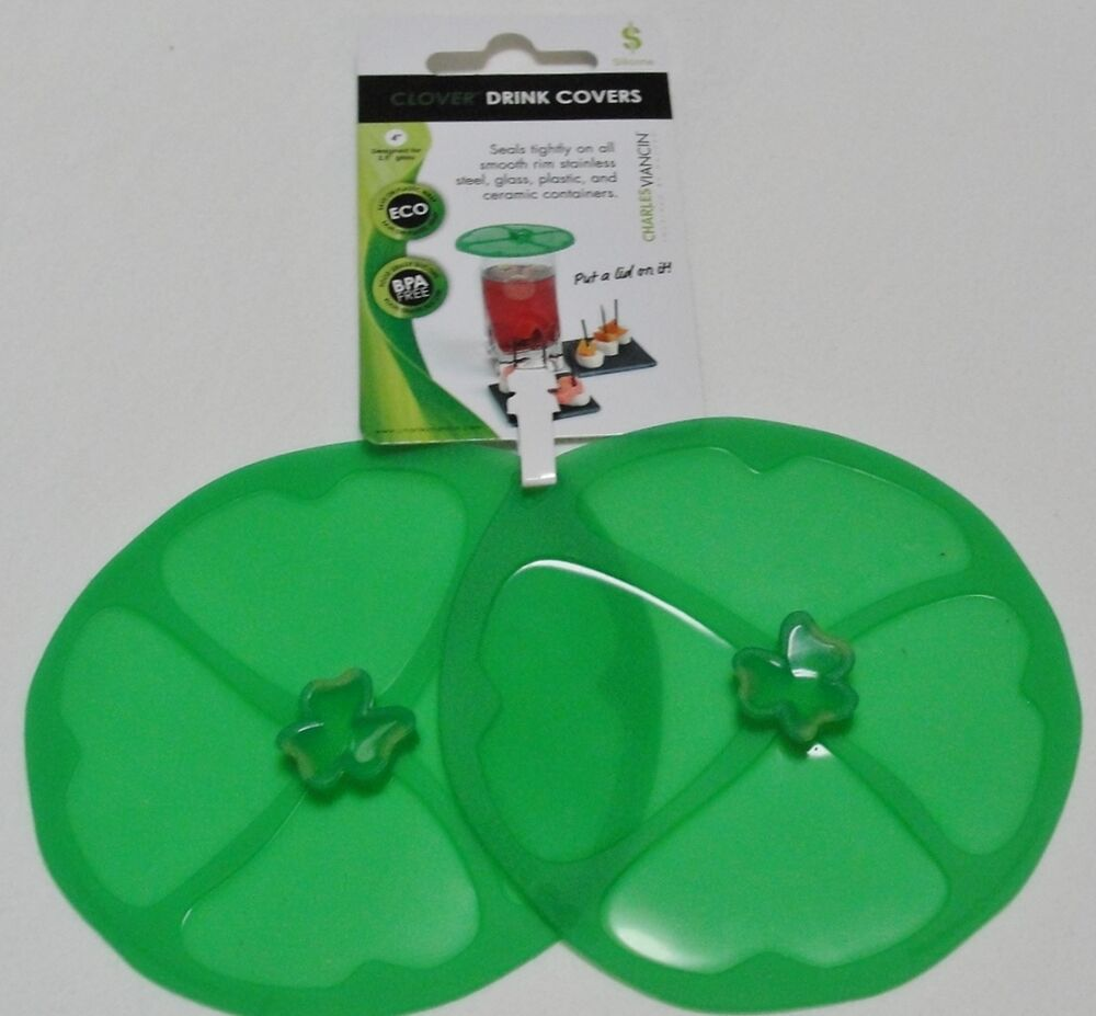 """Charles Viancin 4"""" Silicone Clover Shamrock Drink Cover ..."""