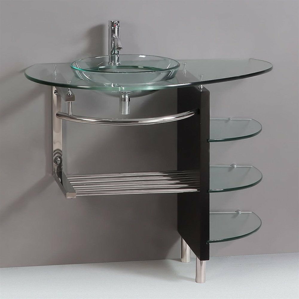Modern Bathroom Gl Bowl Clear Vessel Sink Wood Vanity W Shelfs Faucet 25