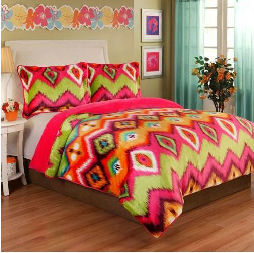 Full Queen Girls 3pc Plush Velvet Bedding Set Pink Green