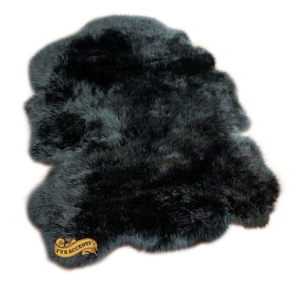 Shaggy Faux Fur Sheepskin Pelt Rug Black Shag Ebay
