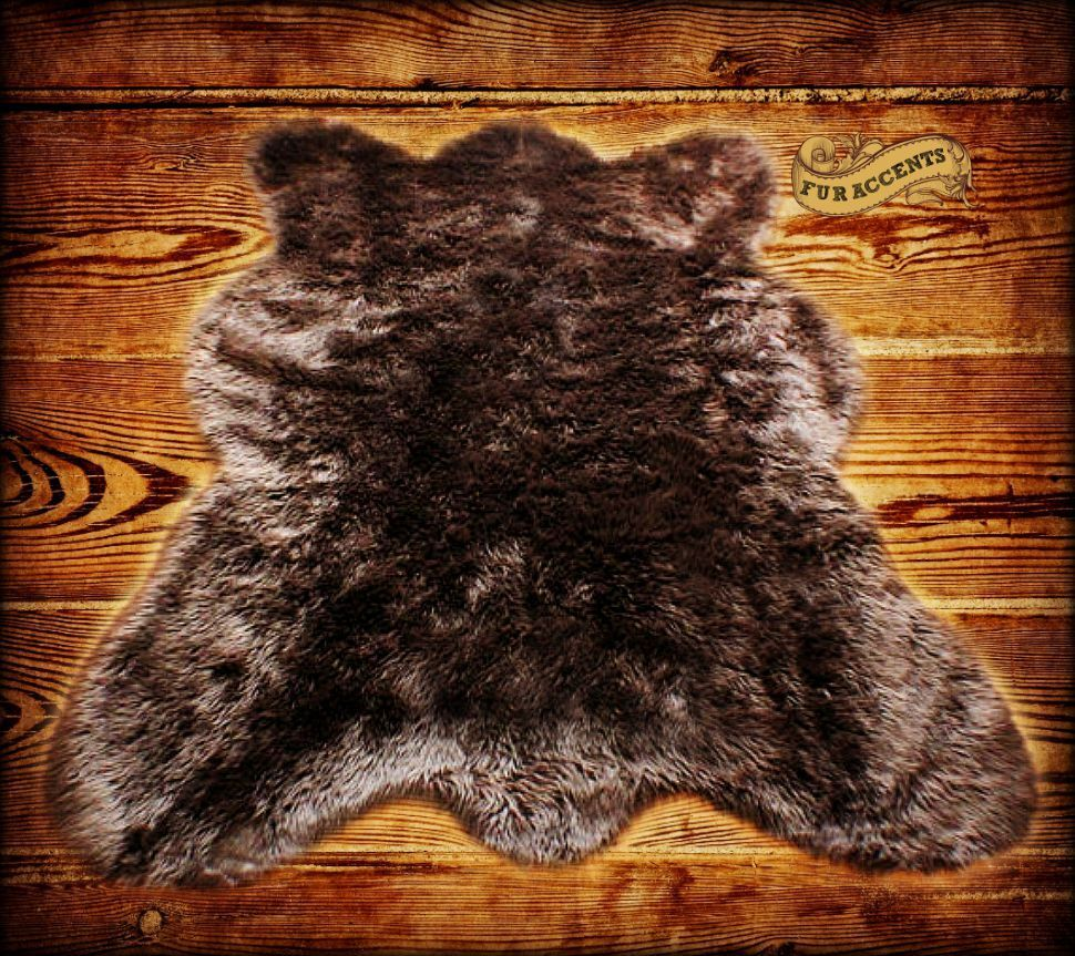 Brown Country Bear Skin / Sheepskin Area Rug / Shaggy Shag