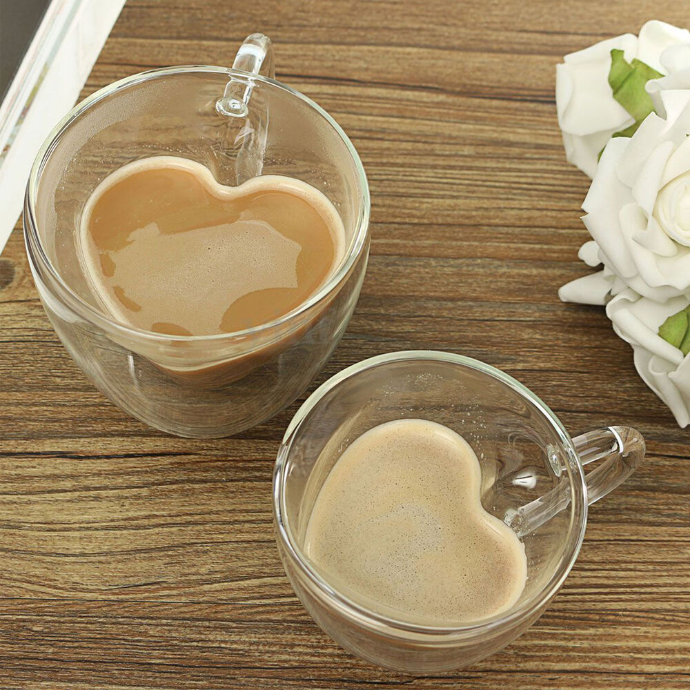 Heart Shape Double Wall Resistant Glasses Cups Tea Coffee