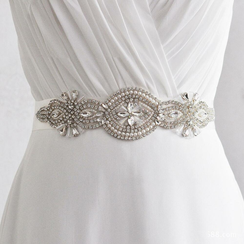Crystal rhinestone handmade wedding bridal dress sash belt for Wedding dress sash with rhinestones