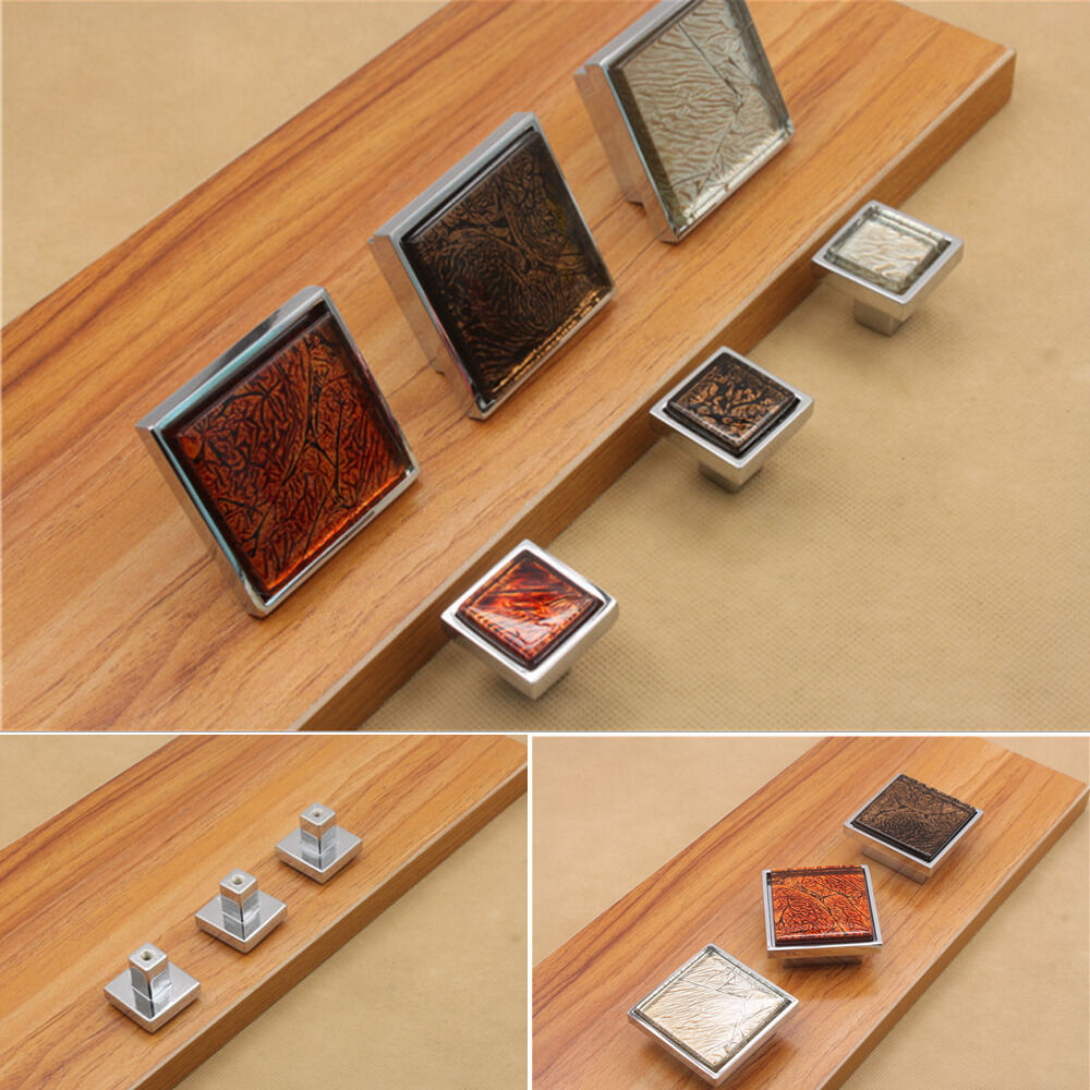 DIY Drawer Cabinet Dimond Pull Handles Door Glass Square