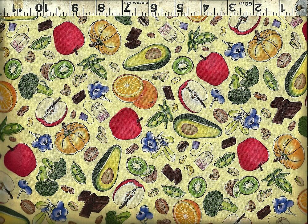 Quilting treasures antioxidant super foods nuts 100 for Cotton quilting fabric