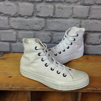 CONVERSE UNISEX WHITE MONOCHROME CHUCK TAYLOR ALL STAR HI TOP TRAINERS UK 4-12
