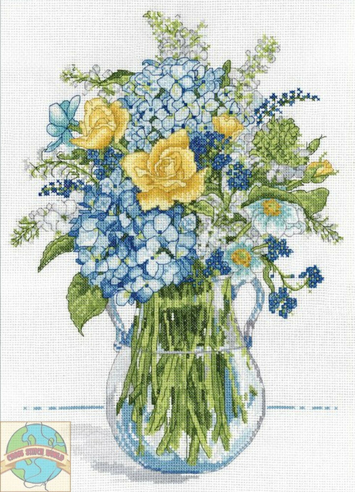 Cross Stitch Kit Design Works Blue Amp Yellow Floral Glass