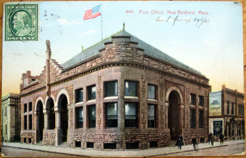 1909 new bedford ma postcard post office massachusetts mass ebay. Black Bedroom Furniture Sets. Home Design Ideas