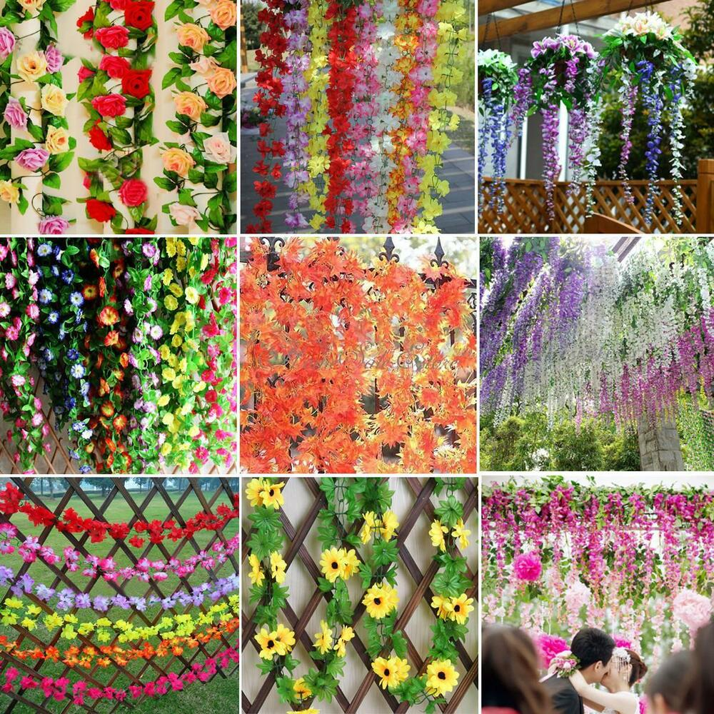 Artificial fake silk flower ivy vine wedding hanging for Ebay decorations home