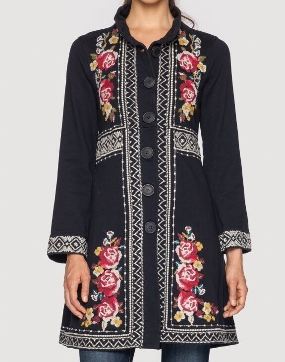 Nwt johnny was embroidered joy military coat jacket black