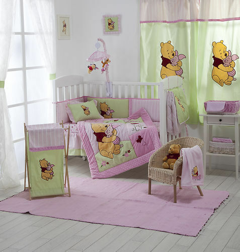 4 PIECE PINK WINNIE THE POOH CRIB BEDDING COT SET RRP $250