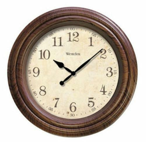 "Westclox 10"" Round FauxWoodgrain Wall Clock Battery ..."