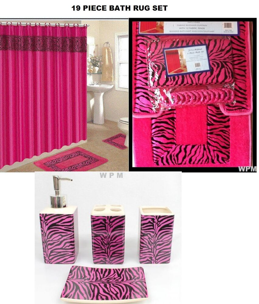 19 piece bath accessory set pink zebra animal print rugs for Pink bathroom accessories sets