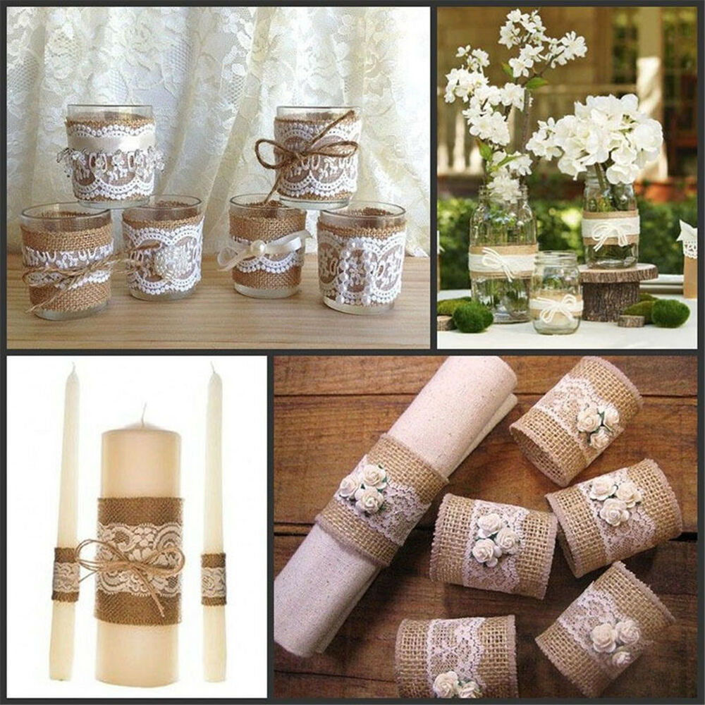 Vintage Lace Edged Hessian Burlap Ribbon Roll For Wedding