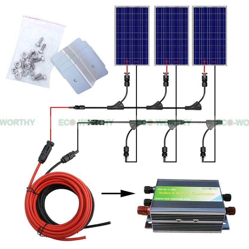 300w Solar Panel Off Grid Kit 3x100w Solar Panels For Home