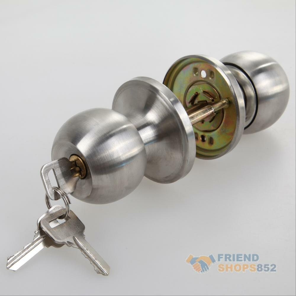Stainless steel round door knobs handle entrance combo - Bedroom door knobs with key lock ...