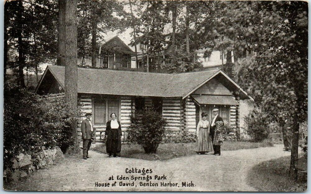 Details about   c1920s BENTON HARBOR House of David Michigan Mich Postcard COTTAGES Eden Springs