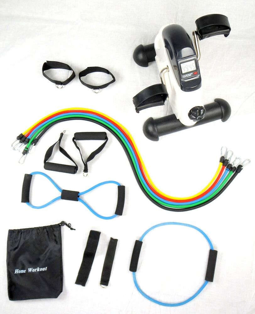 Pedal Chair Bicycle Pedal Bike Exerciser +LCD Monitor + 14pc Latex Fitness Bands | eBay