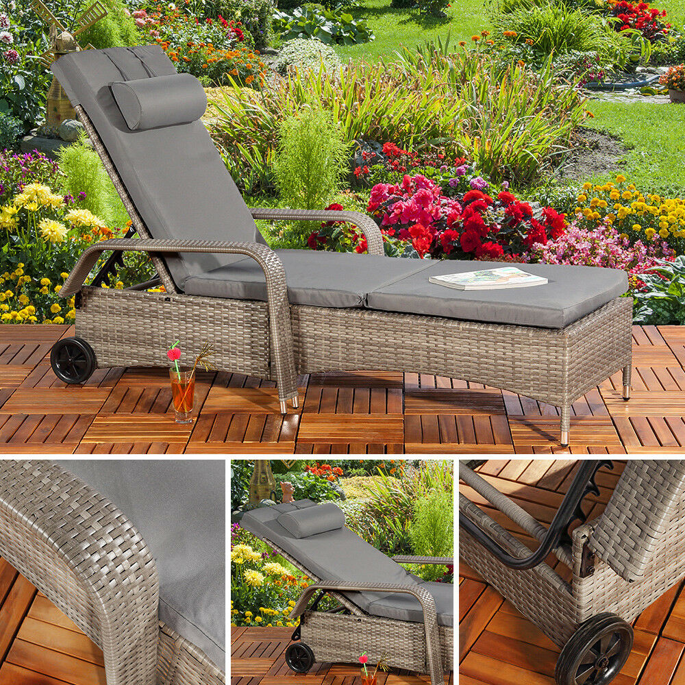 gartenliege sonnenliege rattan liegestuhl loungeliege polyrattan liege grau ebay. Black Bedroom Furniture Sets. Home Design Ideas