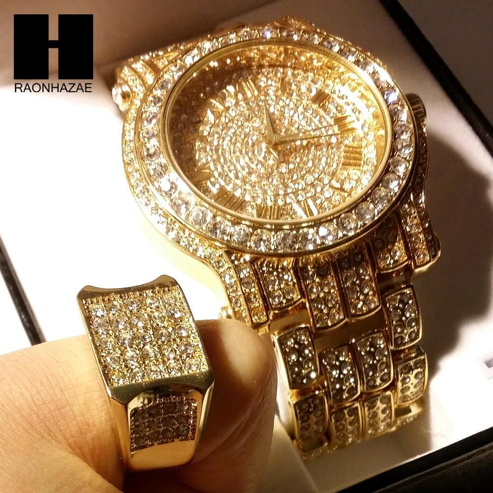 TECHNO PAVE ICED OUT 14K GOLD FINISHED LAB DIAMOND WATCH