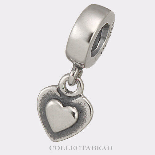 Authentic Pandora Sterling Silver Dangle Silver Heart Bead