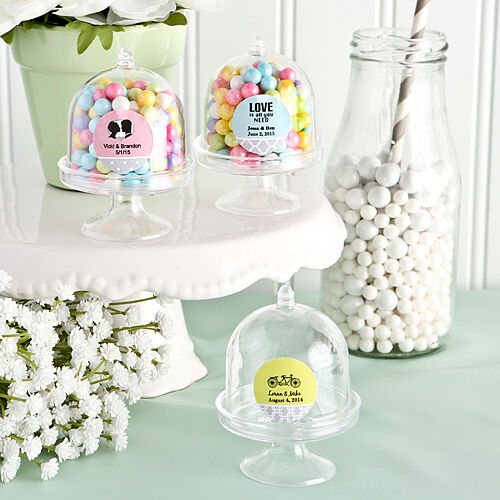 50 Personalized Mini Cake Stand Candy Jars Birthday Baby Party