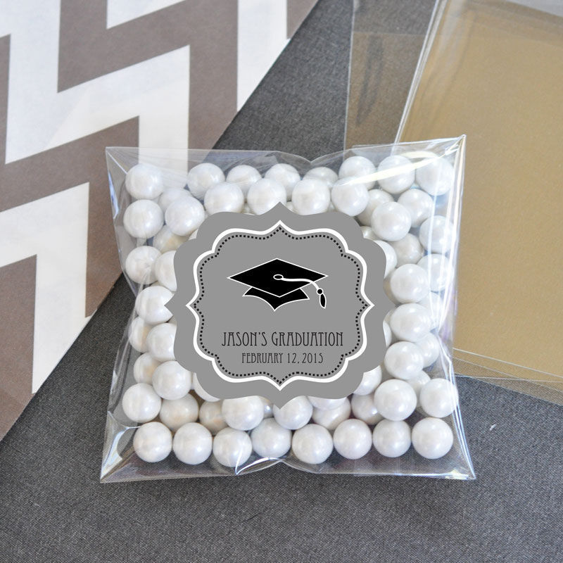 48 Graduation Party Personalized Clear Candy Bags Graduation Party ...