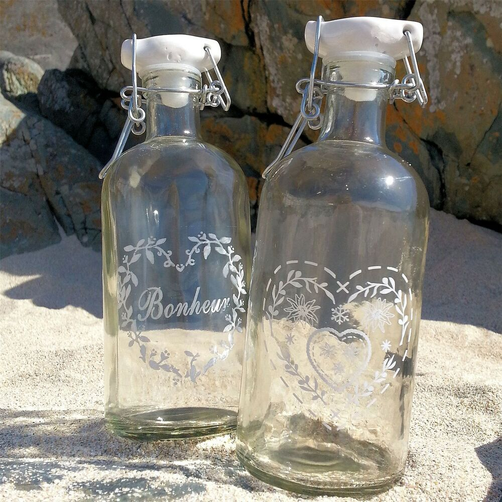 2 vintage french glass storage bottles bathroom bedroom for Bathroom bottles