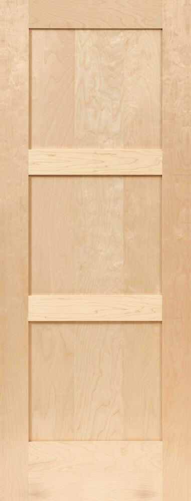 Birch 3 panel equal flat mission shaker stain grade solid for Flat solid wood door