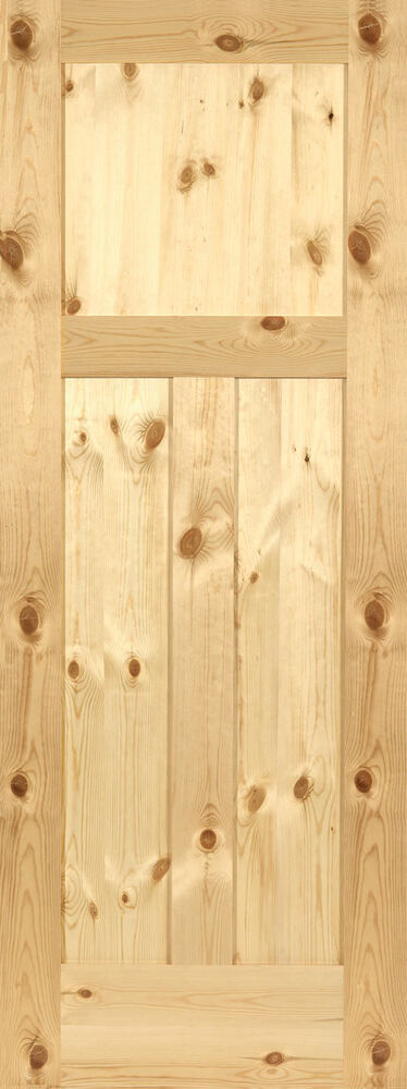 3 panel flat shaker knotty pine stain grade solid core for Flat solid wood door