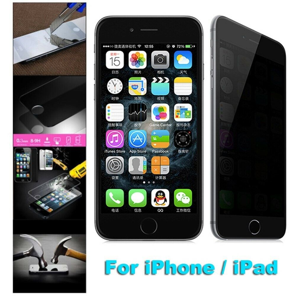 privacy tempered glass full screen protector for iphone 8 6 6s 7 plus 5 5s se ebay. Black Bedroom Furniture Sets. Home Design Ideas