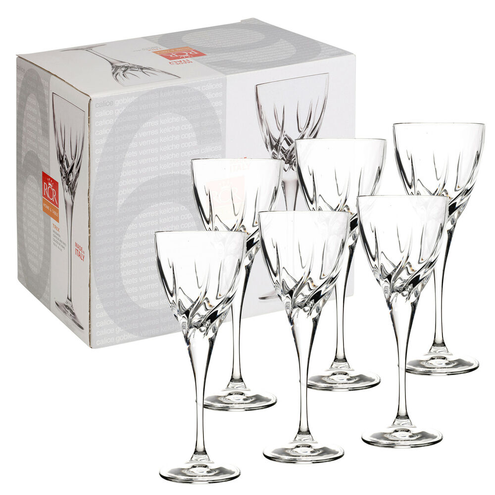 ... Cut Glass Crystal Wine Glasses Dinner Wedding Gift Box Party eBay