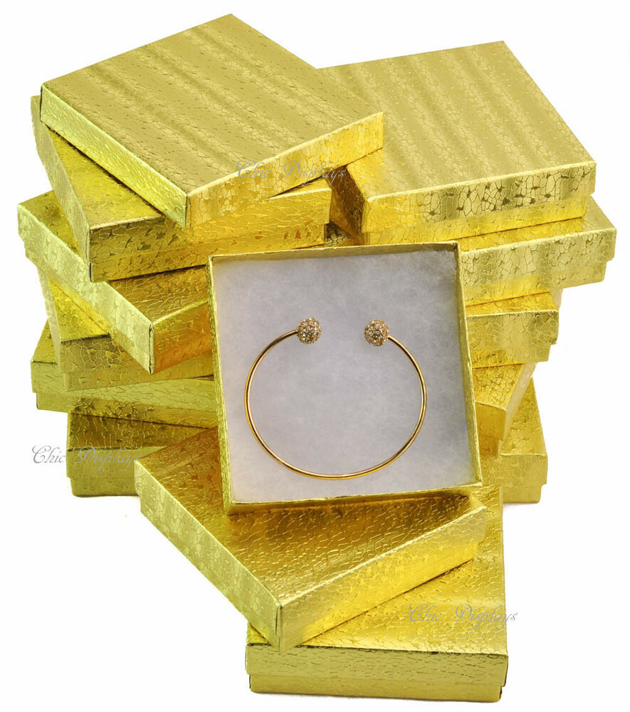 lot of 12 gold cotton filled boxes jewelry gift boxes. Black Bedroom Furniture Sets. Home Design Ideas
