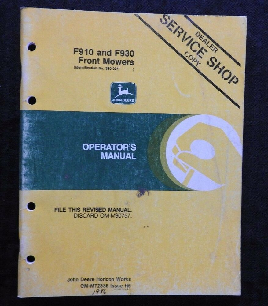 GENUINE JOHN DEERE F910 F930 FRONT MOWER OPERATORS MANUAL SERIAL #380,001 &  UP | eBay