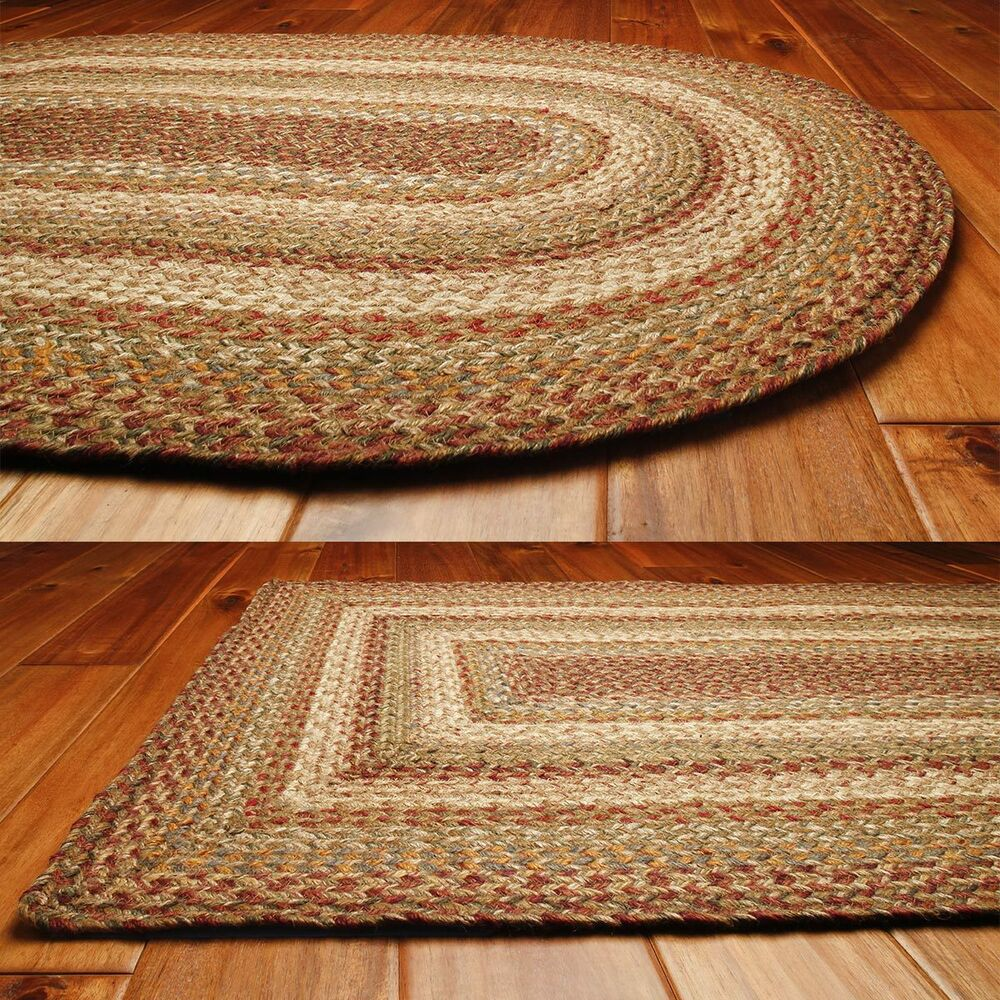 Homespice Decor Jute Braided Area Rug Harvest Tan Cream