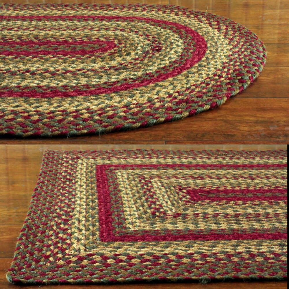 Red And Green Braided Jute Area Rug Country Rustic Oval