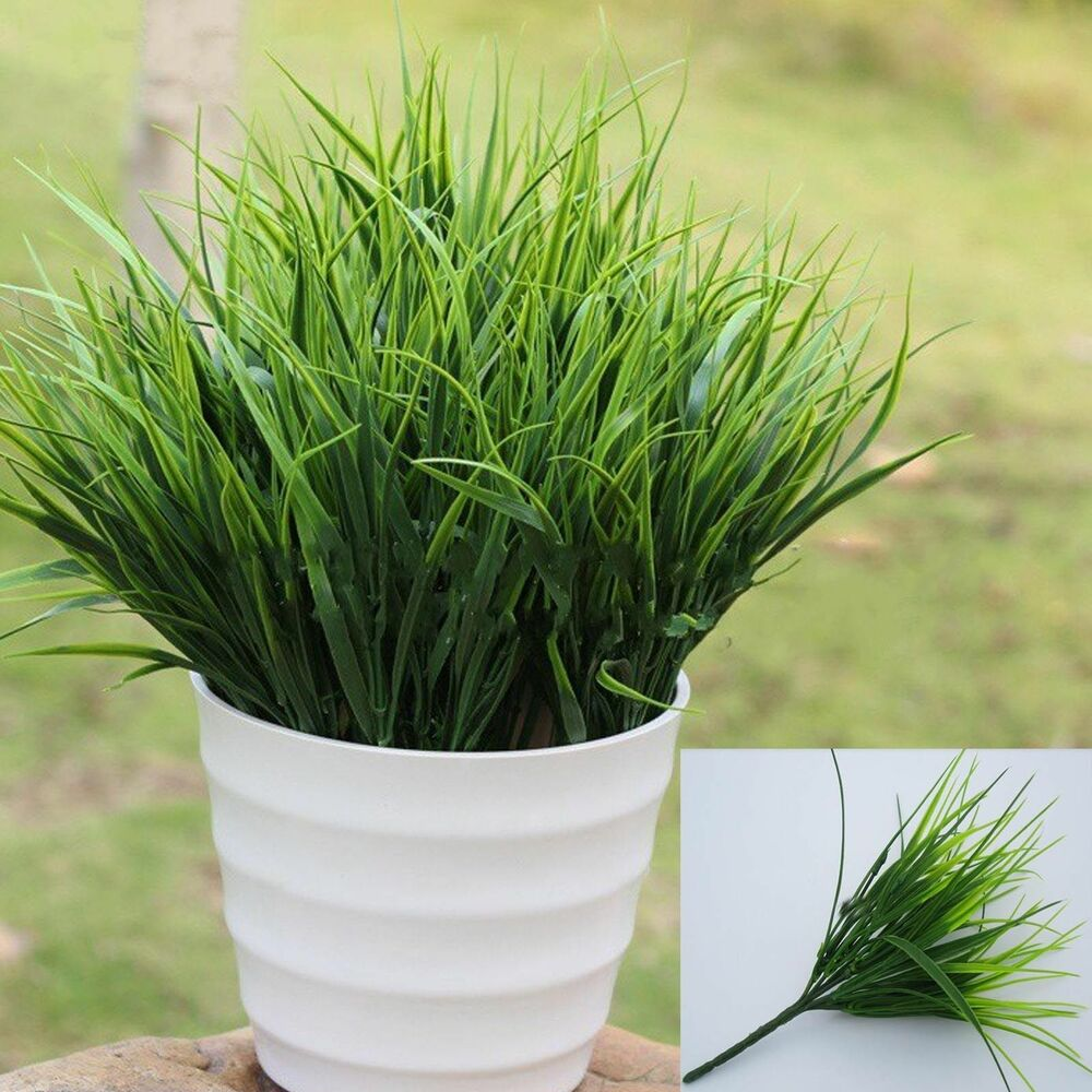 15 artificial fake plastic green grass plant flowers home for Decor plants
