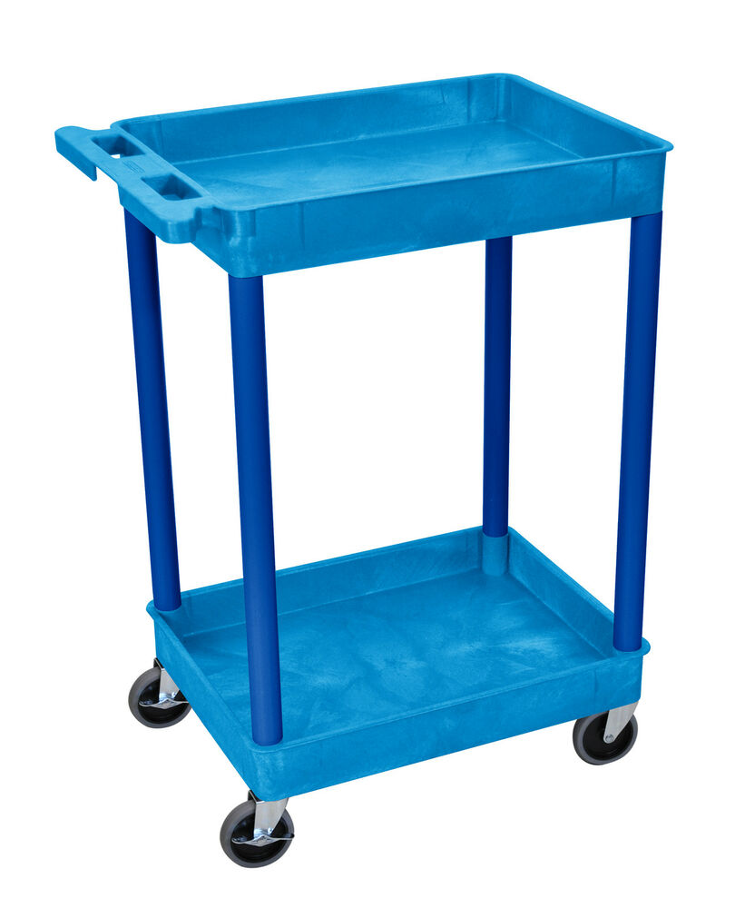 Luxor Home Office Tub Utility Cart 2 Plastic Shelves With 4