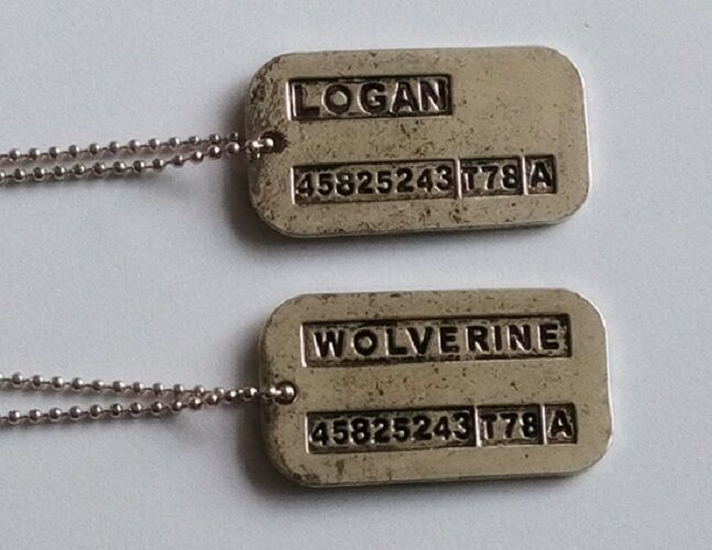 X Men Wolverine Steel Double Sided Dog Tag Pendant