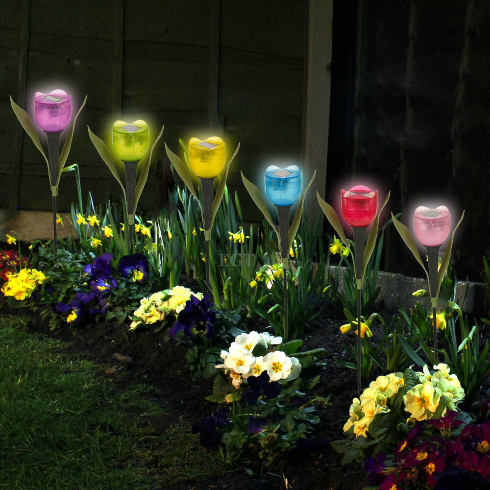 Garden tulip flower shape led solar powered lights outdoor for Flower garden decorations