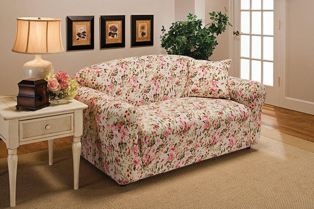 Pink Floral Loveseat Cover Also Comes In Sofa Couch Chair
