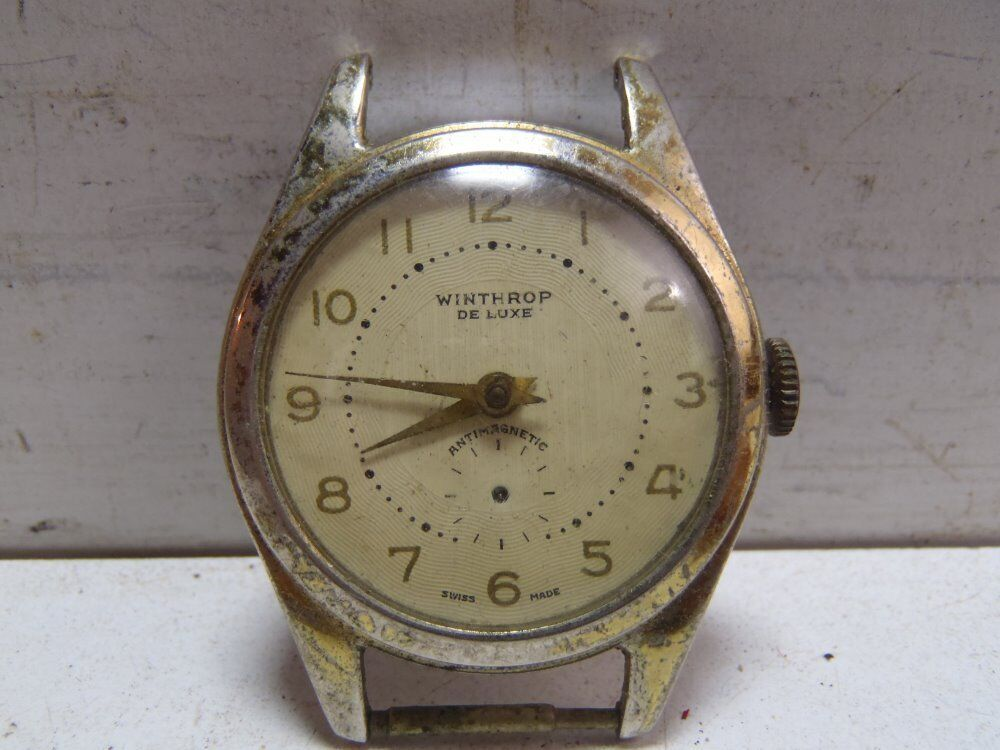 Vintage winthrop deluxe watch swiss made antimagnetic ebay for Swiss made watches
