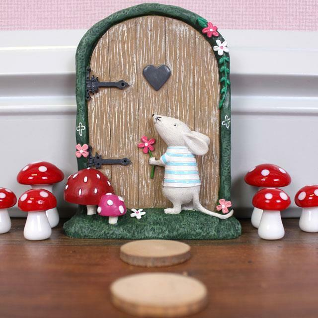 New pink fairy door mouse garden ornament trees or wall for Miniature fairy garden doors