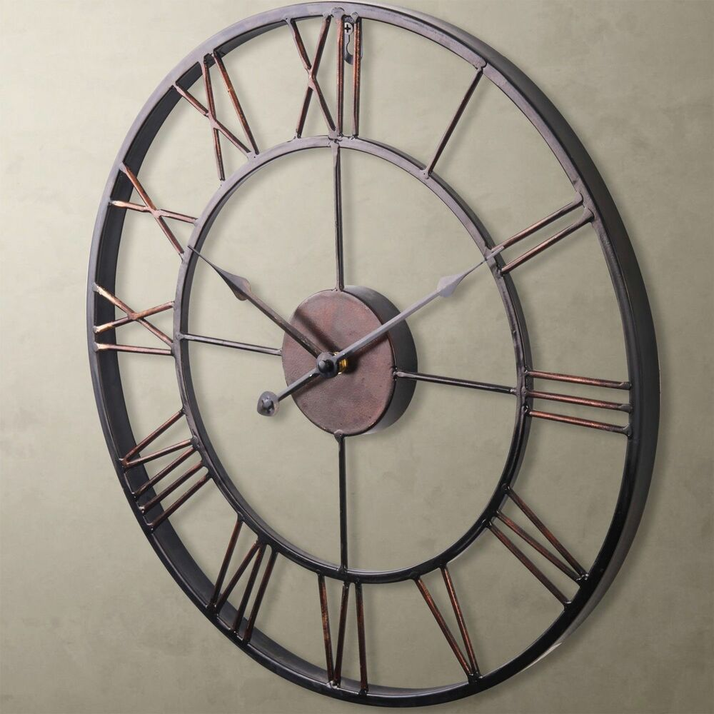 Large wall clock 50cm iron metal industrial rustic vintage french large wall clock 50cm iron metal industrial rustic vintage french provincial ebay amipublicfo Gallery