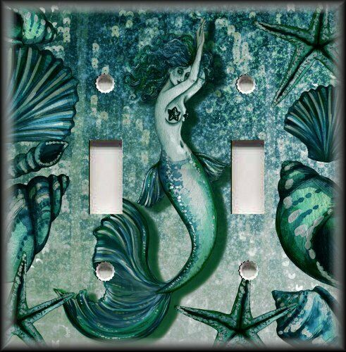 Light switch plate cover tranquil mermaid teal blue for Mermaid bathroom decor vintage