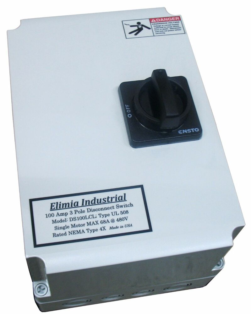 Elimia 40a 40 amp disconnect switch 3 pole nema 4x for 3 phase motor disconnect switch