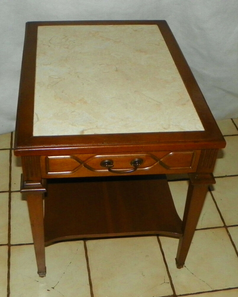 Mid Century Walnut Formica Top End Table / Side Table By